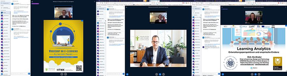 Zu sehen sind verschiedene Screenshots der Onlinekonferenz.