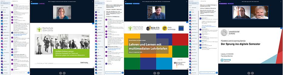 Zu sehen sind drei verschiedene Screenshots der Onlinekonferenz.