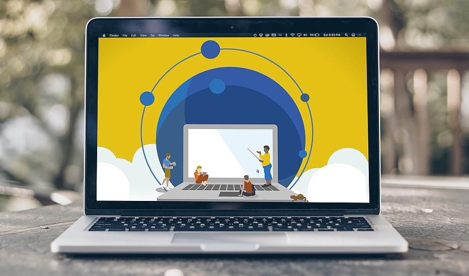 Laptop auf dem eine Grafik (Laptop, Menschen, Wolken) abgebildet ist.