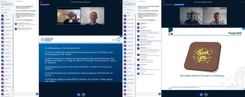 Zu sehen sind zwei verschiedene Screenshots der Onlinekonferenz.